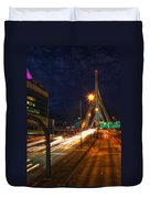 Zakim Bridge At Night Duvet Cover by Joann Vitali