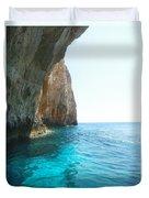 Zakynthos Blue Caves Duvet Cover