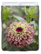 Zinnia Elegans Queen Red Lime Variety Duvet Cover