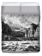 Zion Canyon - Bw Duvet Cover