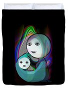044 - Full Moon  Mother And Child   Duvet Cover