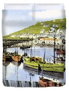 1900 Harbour View Mousehole Cornwall England Duvet Cover