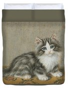 A Kitten On A Table Duvet Cover