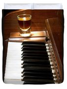 A Shot Of Bourbon Whiskey And The Black And White Piano Ivory K Duvet Cover