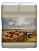 A Steeplechase - Near The Finish Duvet Cover
