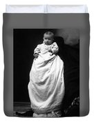 Baby In Long Dress 1903 Black White 1900s Duvet Cover