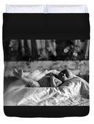 Baby Lying Blanket 1910s Black White Archive Duvet Cover