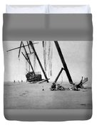 Beached Sailing Ship Circa 1900 Black White Duvet Cover