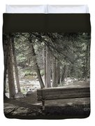 Bench By The Stream Duvet Cover