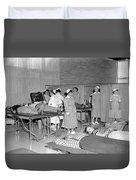 Blood Drive 1958 Black White 1950s Archive Brick Duvet Cover