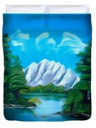 Blue Lake Mirror Reflection Dreamy Mirage Duvet Cover