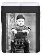 Boy Dressed Elf Sitting Backwards In Chair 1890s Duvet Cover
