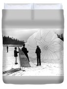 Boys Frozen Lake Parachute Sailboard Circa 1960 Duvet Cover
