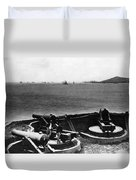 Cannons In Fort Aimed Harbor Circa 1865 Black Duvet Cover