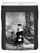 Child Kid In Fancy Velvet Outfit 1890s Black Duvet Cover