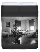 Christmas Tree In Hospital Ward 1923 Black White Duvet Cover