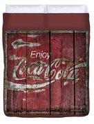 Coca Cola Sign Barn Wood Duvet Cover