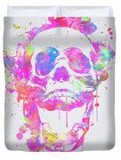 Cool And Trendy Pink Watercolor Skull Duvet Cover