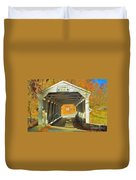 Covered Bridge Watercolor  Duvet Cover