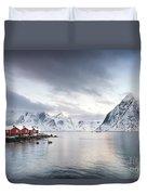 Dawn At Hamnoy On The Lofoten Islands Duvet Cover