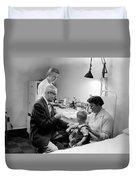 Doctor Giving Toddler Shot 1958 Black White Baby Duvet Cover