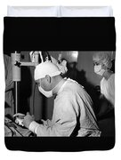 Doctor Nurse In Operating Room May 1964 Black Duvet Cover