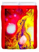 Giraffe In Flames - Abstract Colorful Mixed Media Painting Duvet Cover