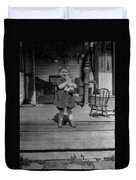 Girl Hugging Stuffed Animal Porch 1920s Black Duvet Cover