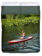 Girl In Canoe Duvet Cover