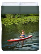 Girl In Canoe Duvet Cover