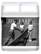 Girls Getting Tennis Lesson Circa 1960 Black Duvet Cover