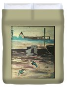 Gray Skies Out On The Sea  Duvet Cover