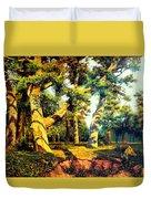 Green Summer-the Oak Forest Duvet Cover