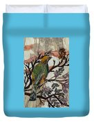 Green-yellow Bird Duvet Cover