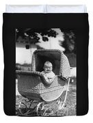 Happy Baby In Wicker Buggy Fall 1925 Black White Duvet Cover