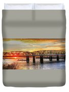 Harahan Bridge In Memphis,tennessee At Sunset Duvet Cover
