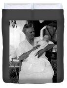 Holding Baby 1927 Black White 1920s Archive Boy Duvet Cover