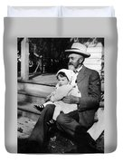 Holding Toddler 1912 Black White 1910s Archive Duvet Cover
