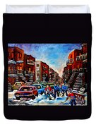 Late Afternoon Street Hockey Duvet Cover