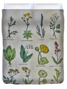 Lithography Of Common Flowers Duvet Cover