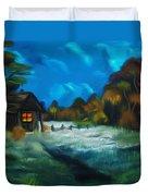 Little Pig's Barn In The Moonlight Dreamy Mirage Duvet Cover