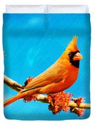 Male Northern Cardinal Perched On Tree Branch Duvet Cover