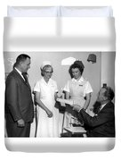 Man Male Handing Award Nurse February 1964 Black Duvet Cover