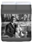 Man Male Holding Baby 1910s Black White Archive Duvet Cover