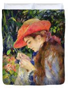 Marie Therese Durand Ruel Sewing Duvet Cover by Pierre Auguste Renoir