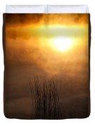 Mist And Lake Reeds At Sunrise Duvet Cover