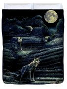 Moonlit Wolf Pack Duvet Cover