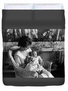 Mother Holding Baby 1910s Black White Archive Duvet Cover