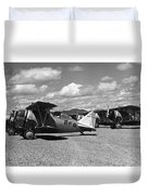 Navy Biplanes 19411945 Black White 1940s Airport Duvet Cover