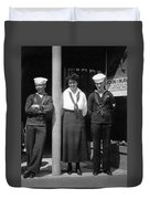 Navy Recruiting Personnel 19171918 Black White Duvet Cover